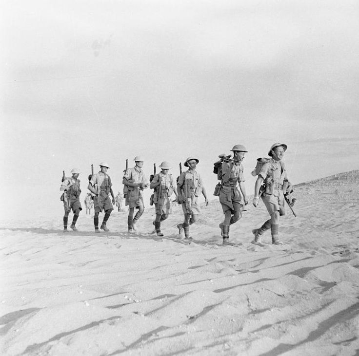 An infantry patrol setting out into no-man's land in the Western Desert, 8 October 1942.
