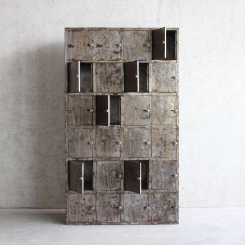Vintage locker kast van metaal, grijs | Home at Home