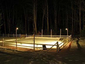 Fancy Start by staking out the four corners of your would be rink visually determining