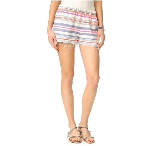 Lemlem Hayat Shorts (198 AUD) ❤ liked on Polyvore featuring shorts, peach, striped shorts, stripe shorts, fringe shorts, cotton shorts and lemlem
