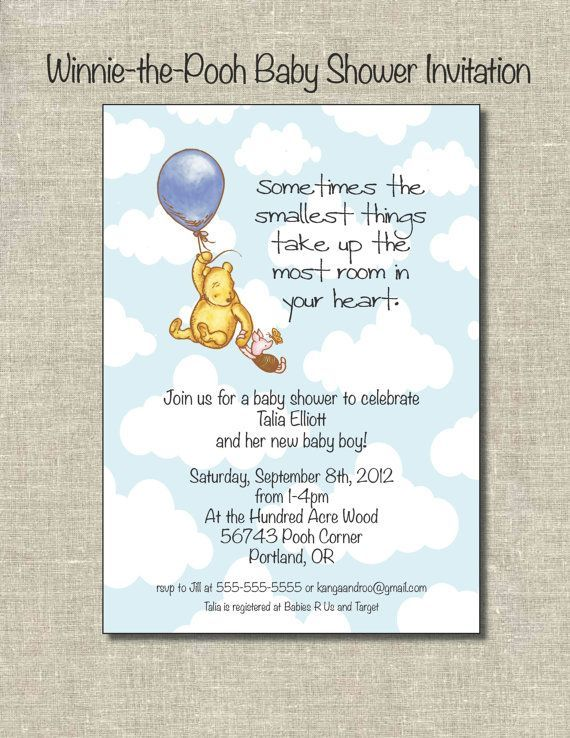 Winnie The Pooh Baby Shower Invitation Digital File