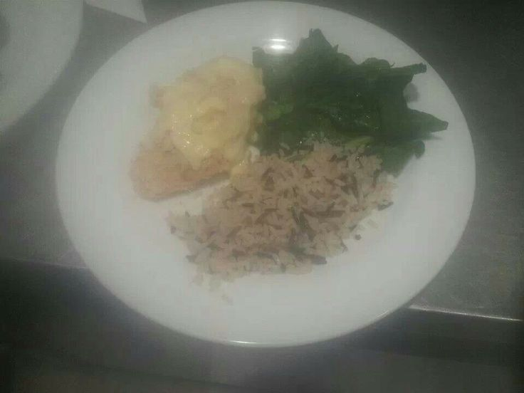 ... ,mustard sause with spinach and wild rice with sundried tomatoes