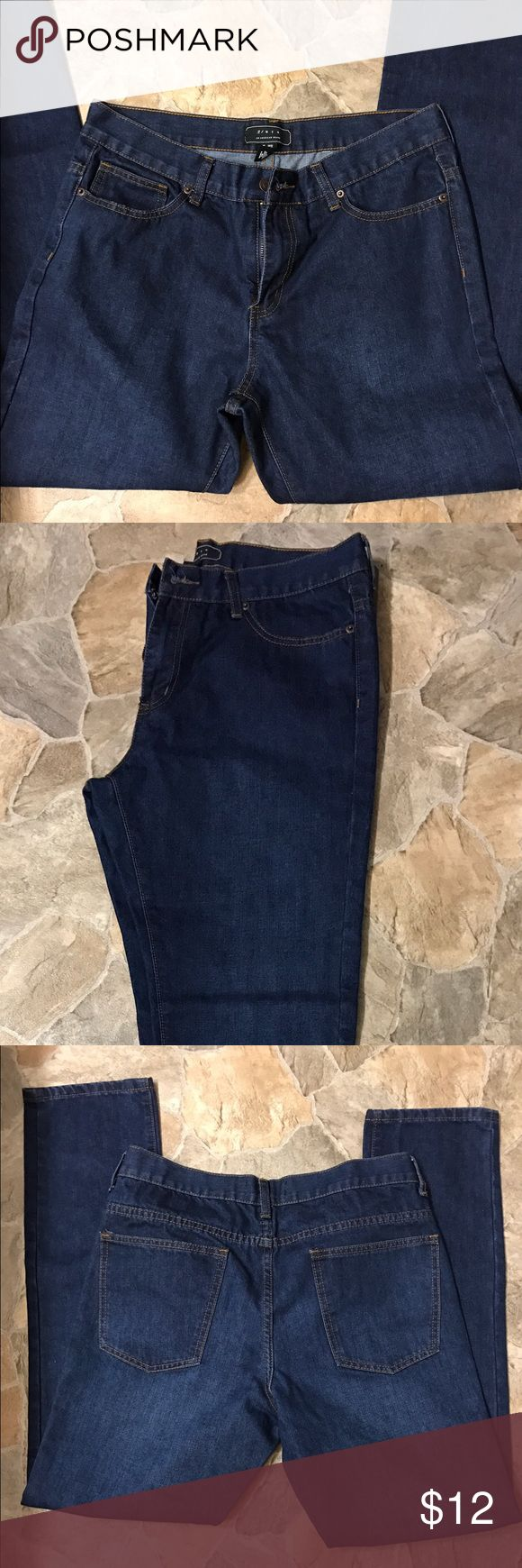 Men's dark blue denim jeans from 21 Men 21 Men brand jeans size 33x32. NWOT skinny-fit with a bit of a thicker material. Dressy-looking dark wash. 21men Jeans Skinny