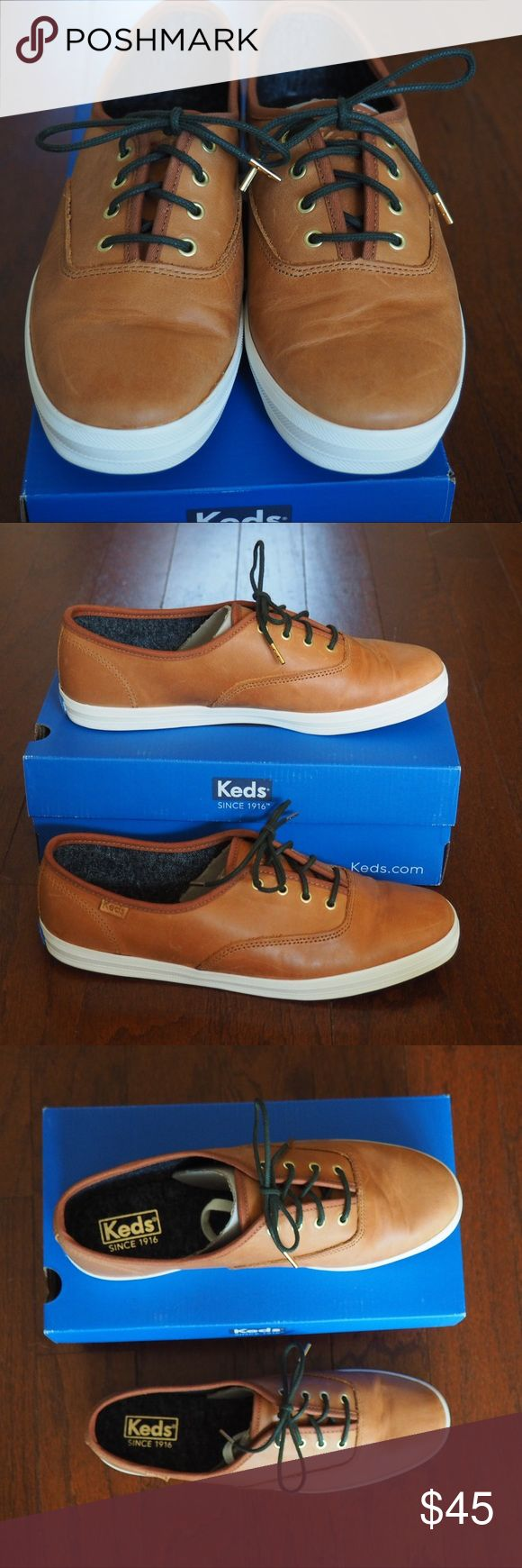 Leather Keds Brand new in box. Champion style burnished leather Keds. Comes with an extra pair of shoelaces. Keds Shoes Sneakers