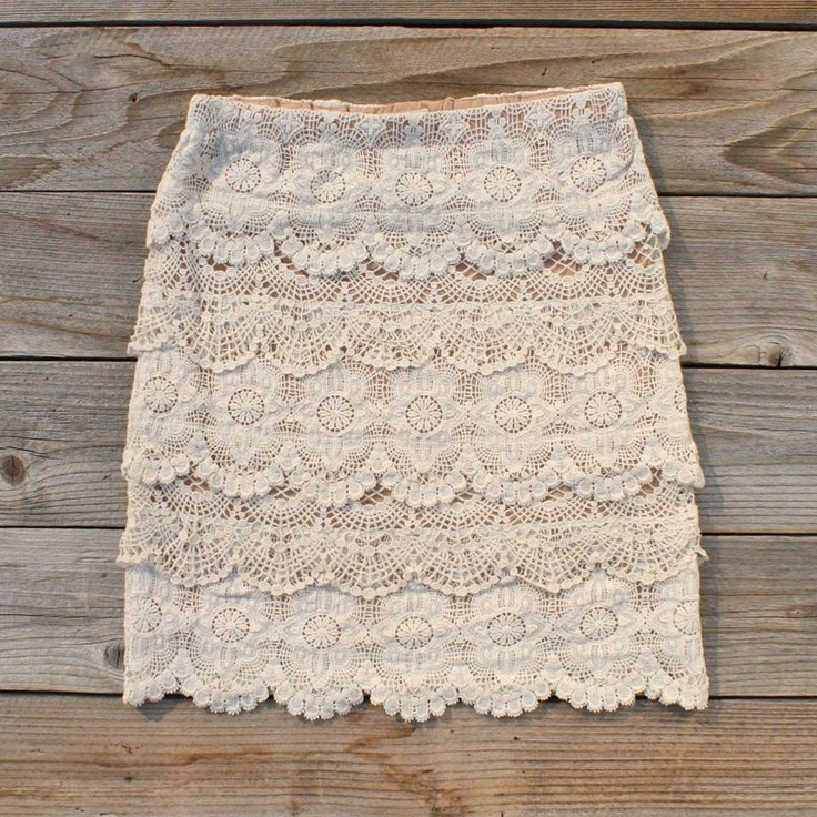 Romance & Autumn Skirt - $52.00 ... Romantic cascading scalloped lace adorns this darling skirt. A dusty peach base is adorned with layers of creamy lace. Designed with a longer length, this skirt has a stretch elastic waist for the perfect fit. Darling paired with boots and a sweater for fall. Colors: Cream & Dusty Peach. 100% Cotton. Dry Clean.