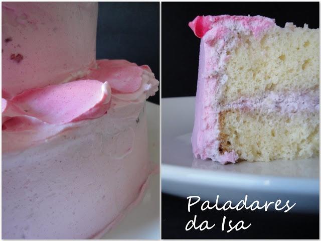 Paladares da Isa: bolo simples com recheio de framboesa e cobertura de morango