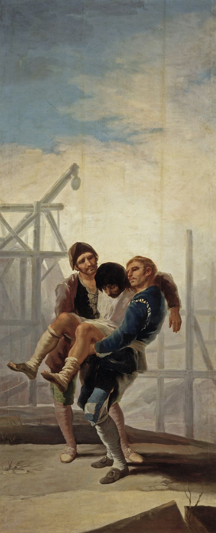 """Francisco de Goya: """"El albañil herido"""". Oil on canvas, 268 x 110 cm, 1786-87. Museo Nacional del Prado, Madrid, Spain"""