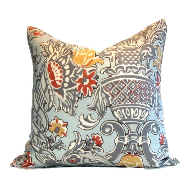 Kravet Pillow Cover Lorton Lutron large scale 100% linen damask design fabric, in shades of light grey blue, with hits of rusty orange and mustard.