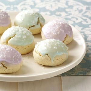 italian sugar cookies with easter-themed glaze.