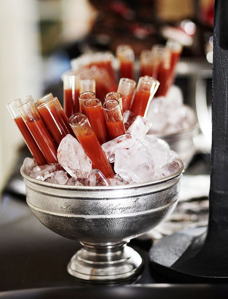 fun halloween party idea bloody mary shots - Halloween Themed Alcoholic Shots