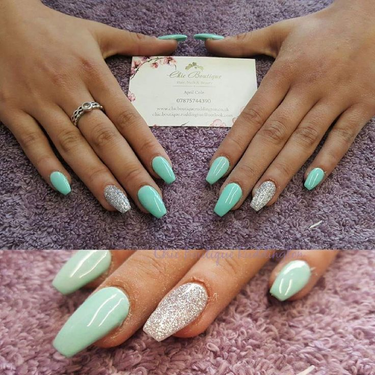 Green And Silver Acrylic Nails Gel Polish Nail Wonderland With Images Rounded Acrylic Nails Mint Acrylic Nails Mint Green Nails
