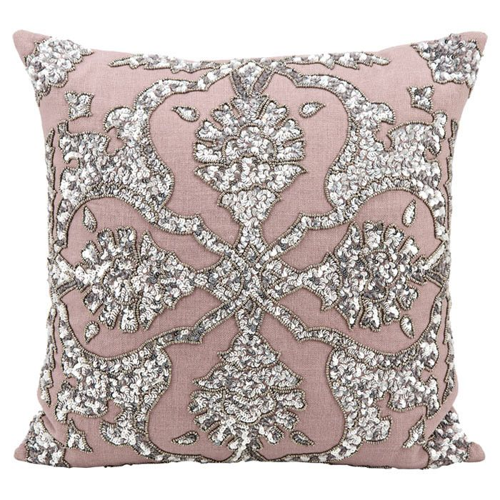 silver sparkle & sequin pink throw pillow. Two of my favs in one place--sparkle pink!!