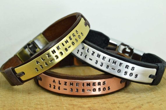 Personalized Medical ID Bracelet Alzheimer's by echoleathers
