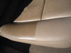 Car leather seats - cleaning and polish. Tremendous difference in appearance - using a leather cleaner and polish not only makes your car seats look great, but prevent cracks and creases.