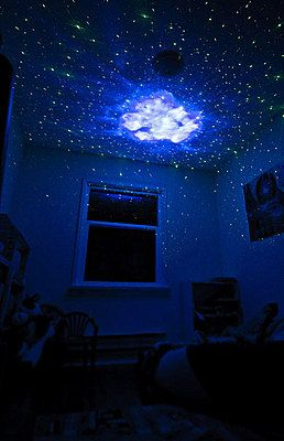 Stars on the ceiling, created by the Laser Stars Projector... I NEED THIS.