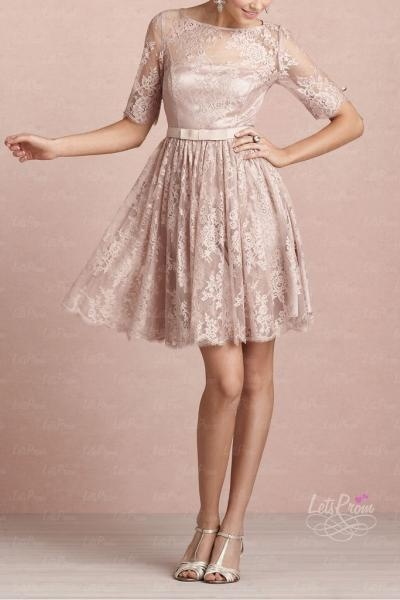 Elegant A-line Lace Tea Rose Dress - Bridesmaid Dresses - Almost all the girls like the lace design with mystery,the short sleeve and train makes you vivacious and graceful!