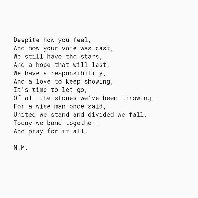 """""""Dear America, We Are The Hopeful"""" • 11/9/16 • #mmpoetry #election2016 #love #poetsofinstagram #poetsofig #poetess #poetry #poetrycommunity #poem #poemsporn #america #usa #donaldtrump #hillaryclinton #words #herheartpoetry #unitedwestand #wordsmith #writerscommunity #writers #creativewriting #quote #spilled #spilledink #thoughts #hope #presidentialelection"""