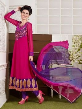 Pink Georgette Anarkali Suit With Resham And Zari work