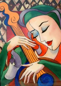 """""""Musician With Guitar"""" by Jeanette Jarville"""