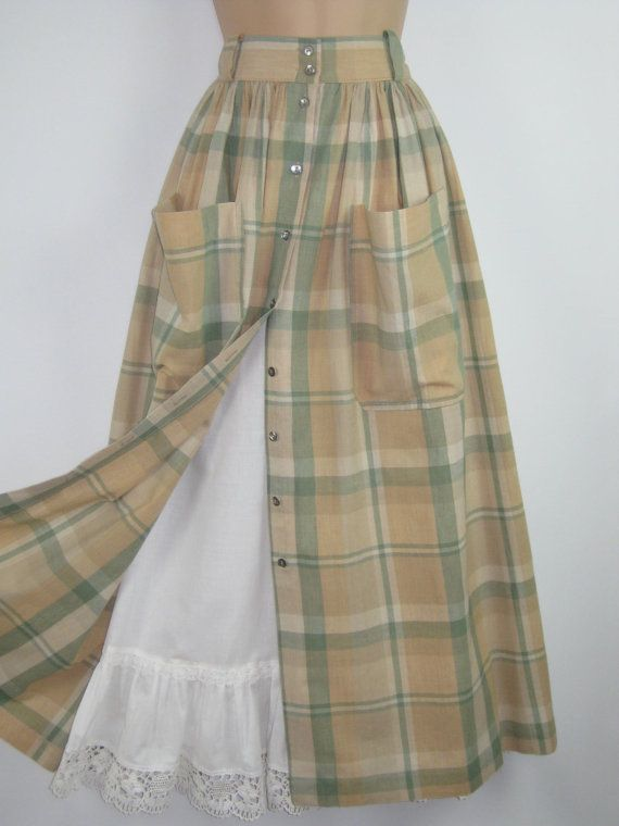 LAURA ASHLEY Vintage Country Check Patch-Pocket Summer Skirt, UK 14