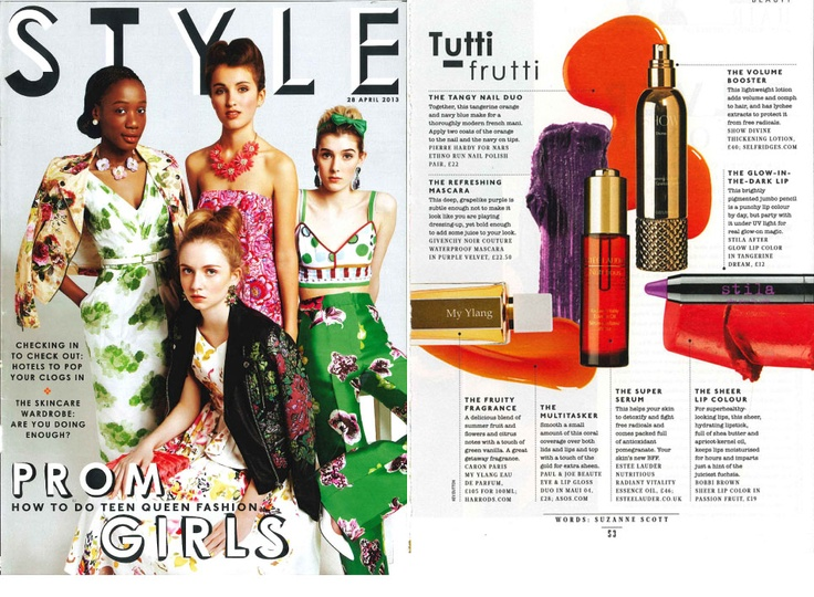 Sunday Times Style magazine features Caron 'MyYlang' as part of the 'Tutti Frutti' beauty page last weekend.