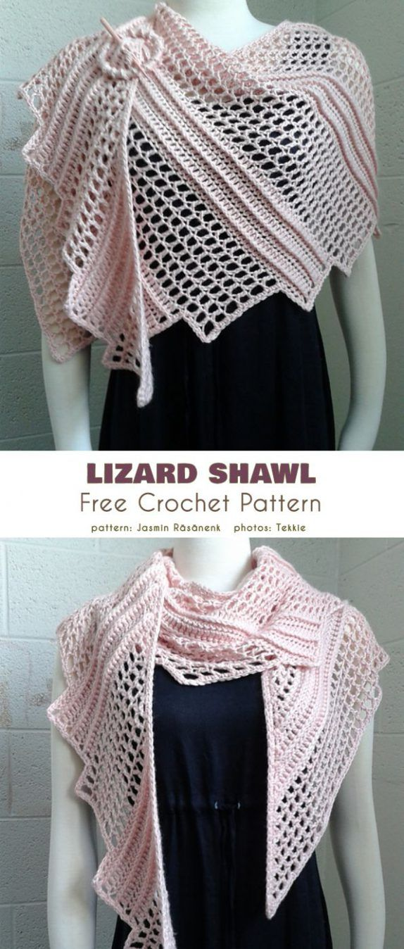 Lizard Shawl Free Crochet Pattern