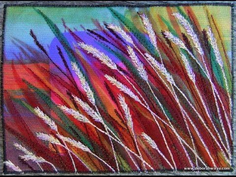 Thread Sketching in Action No 16 of 19 Free stitched grasses study Hay with Deborah Wirsu - YouTube