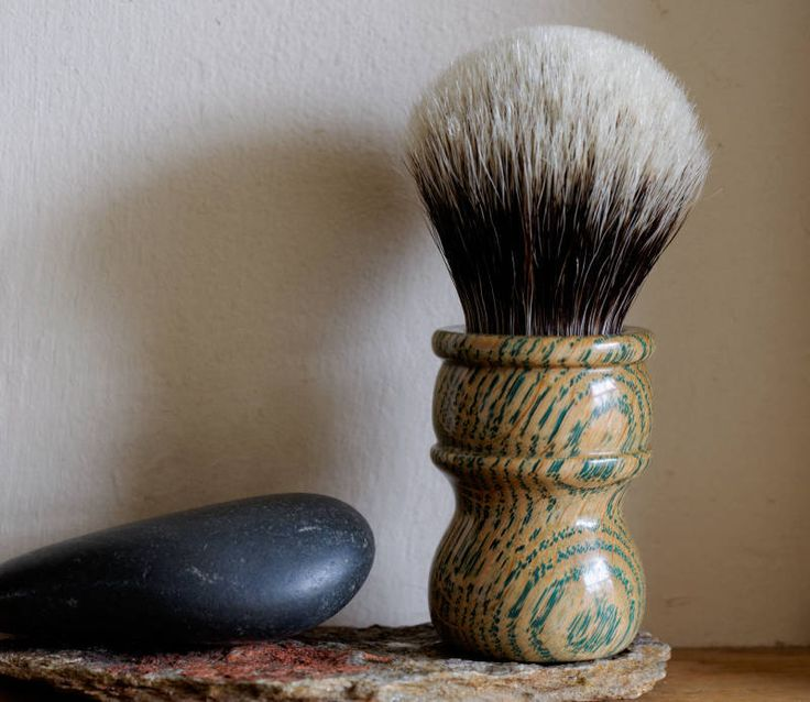 Shaving Brush - Hand-Made with Oak wood Stabilized with Green Resin Handle and a Choice of Knots by LoveYourShave on Etsy