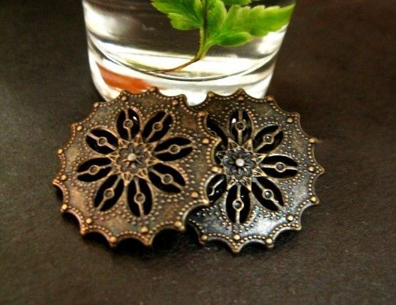 Flower Filigree Metal Buttons , Antique Brass Color , Shank , 0.71 inch , 10 pcs by Lyanwood, $5.00