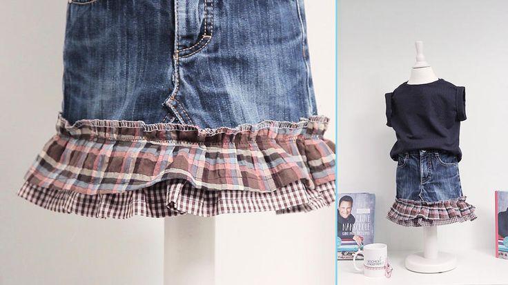 """Anlässlich der VOX-Show """"Geschickt eingefädelt"""" gibt es hier ein kostenloses Schnittmuster und Videotutorial für ein Jeansrock für Mädchen aus einer alten Jeans"""