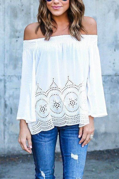 Show off you shoulder with this kinds of top. It is a great idea add this into you closet. This piece is designed with off shoulder, lace hem and hollow out details. We can pair it with rips jeans or denim shorts.