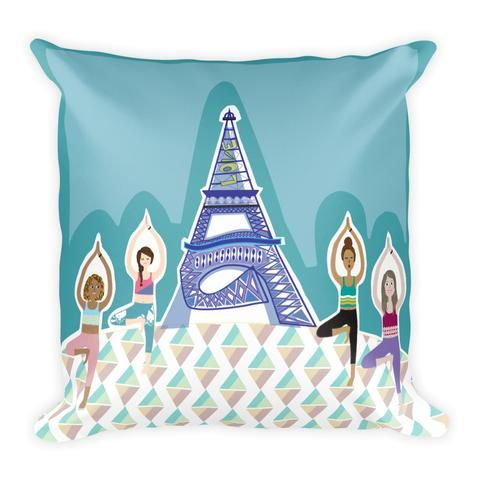 Eiffel Tower in Tree Pose - Pillow