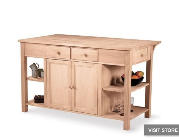 The Super Kitchen Center Breakfast Bar Is An All Wood Kitchen Island With A  Two Door Cabinet And Two Drawers.