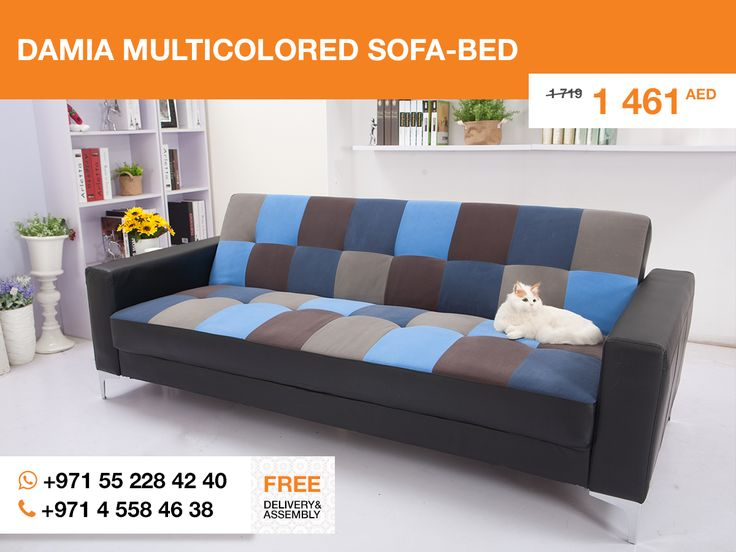 If you like energetical minimalism, The Damia sofa-bed should be your choice. Straight lines dividing bright colors into clean forms gives a straight feeling of the avant-garde pictoral art. Enjoy as if it was a painting!   P.S. Cat is not included.  More details: http://gtfshop.com/damia-multicoloured-sofa-bed-dubai