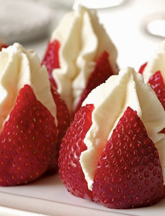 "Strawberries Filled with ""Clotted"" Cream, a delicious cheat using whipped cream and silky mascarpone cheese. Perfect for brunch or afternoon tea!:"