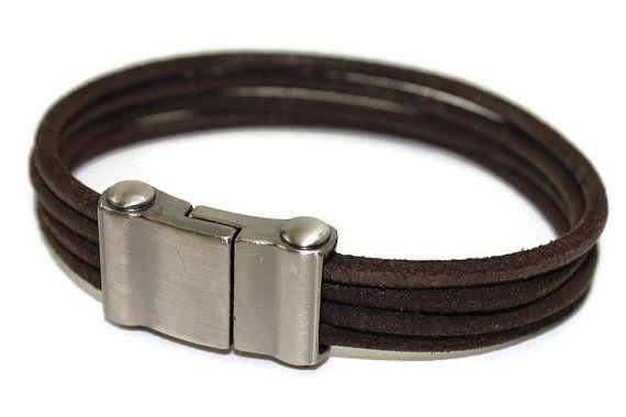 Brown genuine suede bracelet  mens bracelet  by LuckyBeadsBox