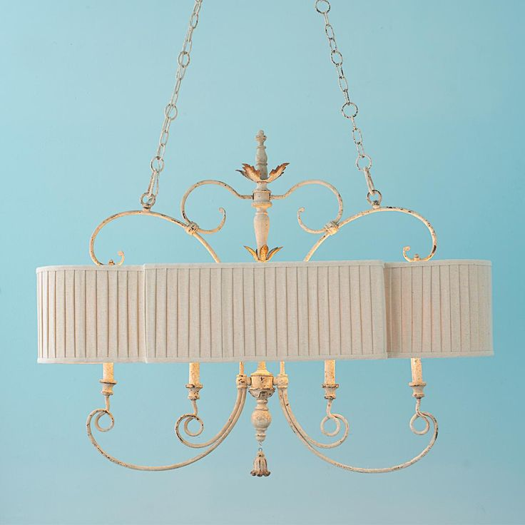 """Too fancy for us """"prairie people"""" sad to say. Because I really like this! Pleated Shade French Island Chandelier"""