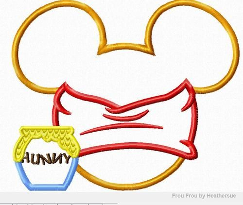 Winnie The Pooh Mickey Head Embroidery Design