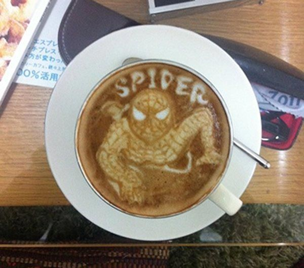 spiderman original japanese coffee art coffee espresso cappuccino art breakfast drinks beverages