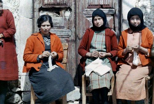Three women sit and do needlework, Crete; 1920's; Images by Maynard Owen Williams / Wilhelm Tobien;  Source: National Geographic Stock