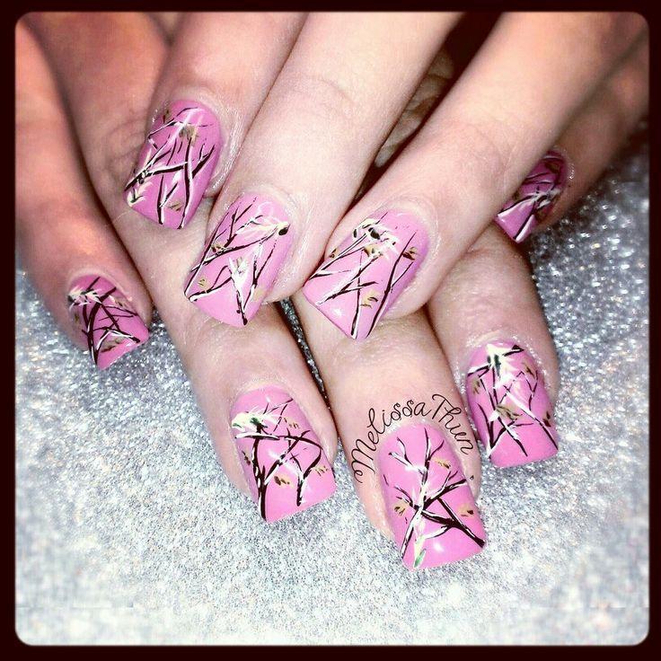 Pink mossy oak | Nails | Pinterest