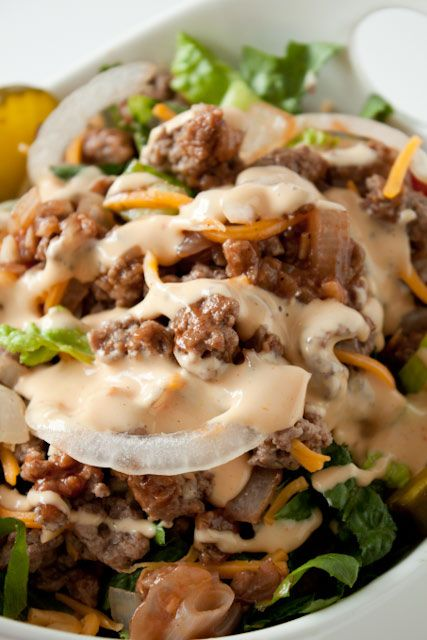 Cheeseburger Salad with Big Mac Dressing. Make this salad if you love nothing more than cheeseburgers and 20 minute meals.