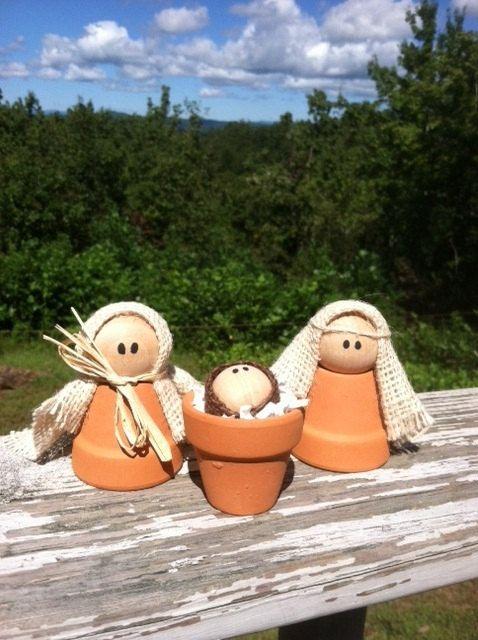 Clay Pot Nativity by MyChickenCoop on Etsy