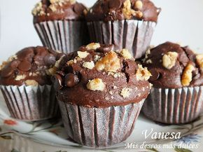 Muffins de chocolate y nueces superfacil de hacer y rapido!!!☺