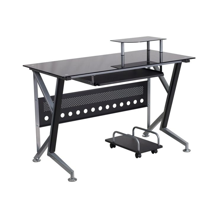 Offex Black Glass Computer Desk with Pull-Out Keyboard Tray and CPU Cart, Size Large