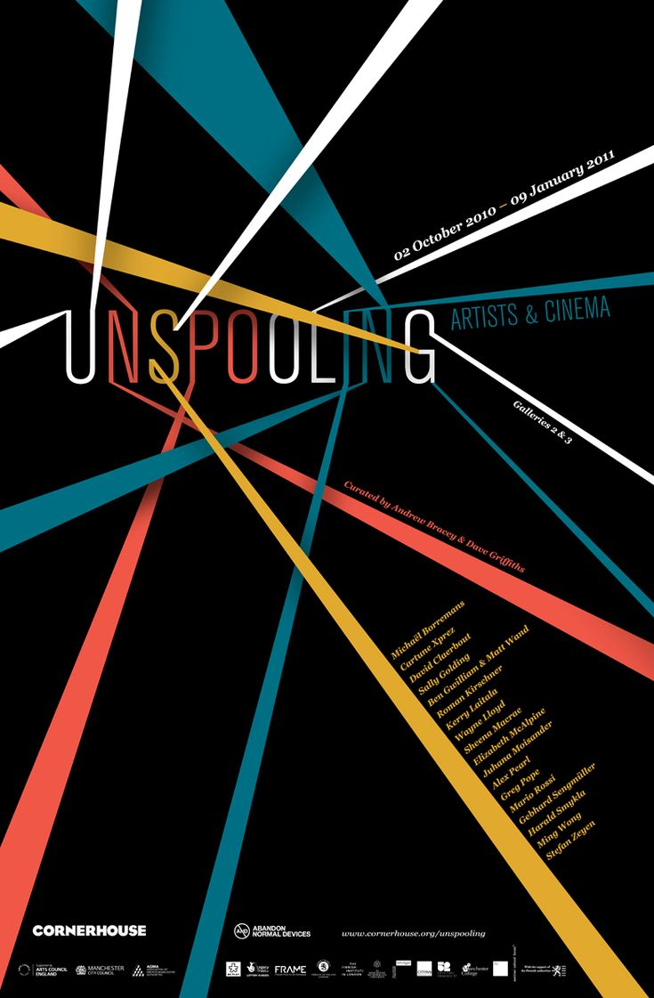 Unspooling poster great modern version of the international typographic style. The visual characteristic of this poster is very clear for its audience. This poster was made for an art and cinema exhibition for international artists. I like how the word is being unspooled like yarn or unwinding what the artists have to present in the exhibit.