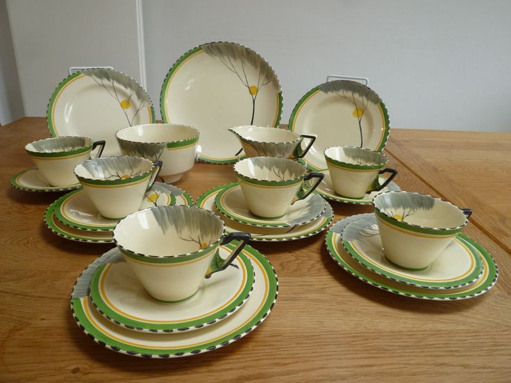 Art Deco Burleigh 21 piece breakfast service, Dawn pattern on Zenith shape.  eBay! Aug 2017 GBP125 list (not sold on first listing)