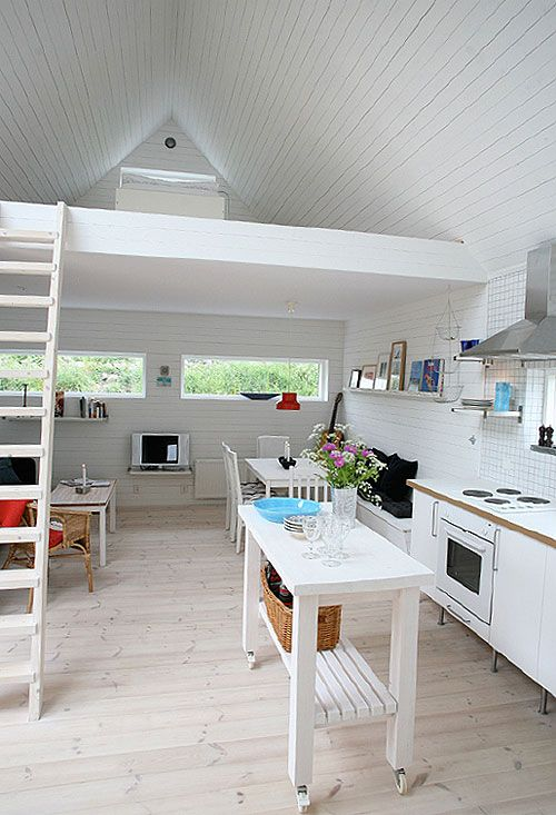 All White Tiny Home Interior in Sweden