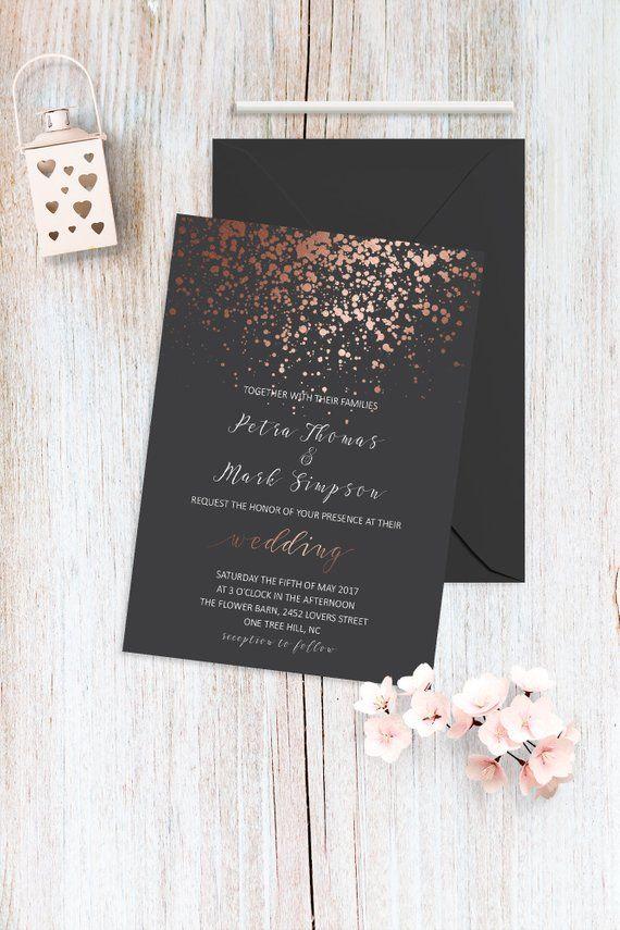 Rose Gold Elegant Wedding Invitation Set Rose Gold And Dark Etsy Simple Wedding Invitations Modern Wedding Invitations Wedding Invitations