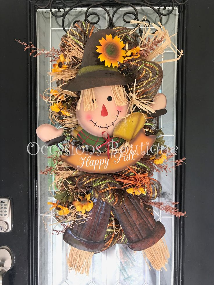 Fall Wreath, Autumn Wreath, Fall Door Swag, Scarecrow Door Hanger, Wreath for Fall, Front door Wreath by OccasionsBoutique on Etsy